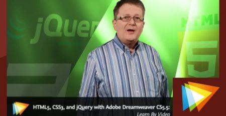 دانلود آموزش html و css و jQuery با ادوبی دریم ویور سی اس 5/5- HTML5, CSS3, and jQuery with Adobe Dreamweaver CS5.5