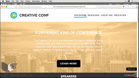 دانلود آموزش ساخت وبسایت تک صفحه ای در میوز | Building a Single-Page Website in Muse 3